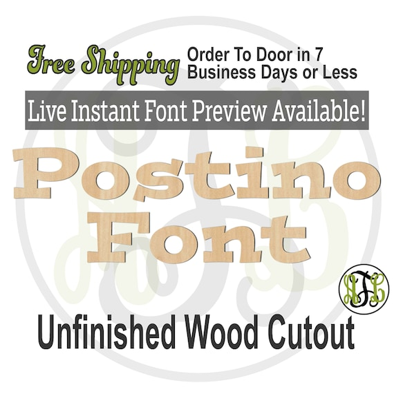 Postino Font Name / Word / Phrase- Block Alphabet Cutout, unfinished, wood cutout, laser cut wood, wood cut out, wooden,  Live Font Preview