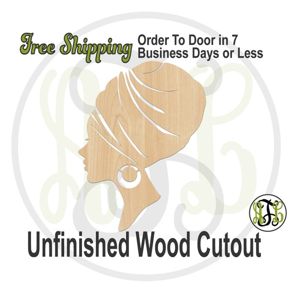 Afro American Turban Wood Cutout, African American Woman Profile, Wooden Door Hanger, Afro Sign, laser cut, unfinished wood cutout - 3300010