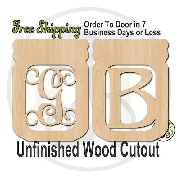Mason Jar Monogram- 300002M1- Personalized Cutout, Initial, unfinished, wood cutout, wood craft, laser cut, wood cut out, wooden, wall art