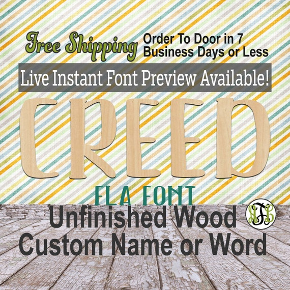 Fla Font Name / Word / Phrase- Block Alphabet Cutout, unfinished, wood cutout, laser cut wood, wood cut out, wooden,  Live Font Preview