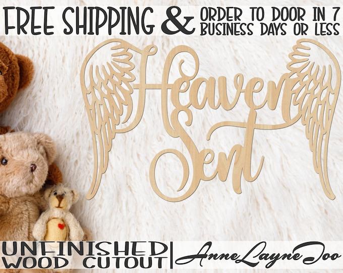 Heaven Sent Wood Cutout, Nursery Cutout, Baby Shower Sign, Nursery Wooden Sign, Shower Cutout, unfinished, wood cut out, laser cut - 321012