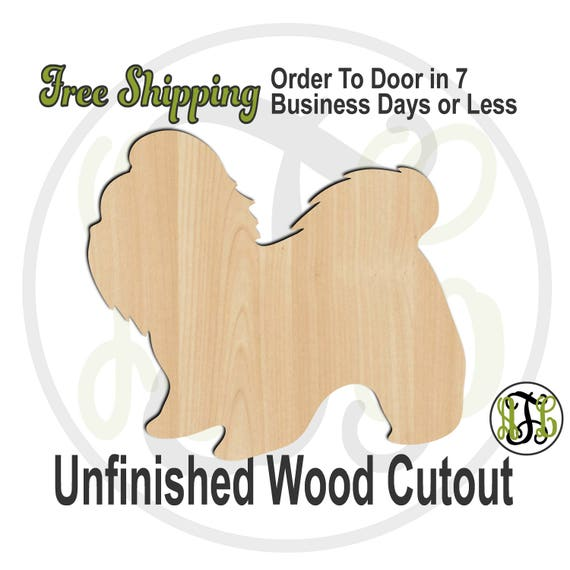 Shih Tzu - 230091- Animal Cutout, unfinished, wood cutout, wood craft, laser cut shape, wood cut out, Door Hanger, Dog, wooden, blank