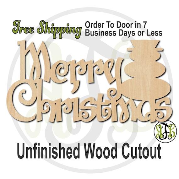 Merry Christmas Snowman - 180114- Christmas Cutout, unfinished, wood cutout, wood craft, laser cut shape, wood cut out, Door Hanger, wooden