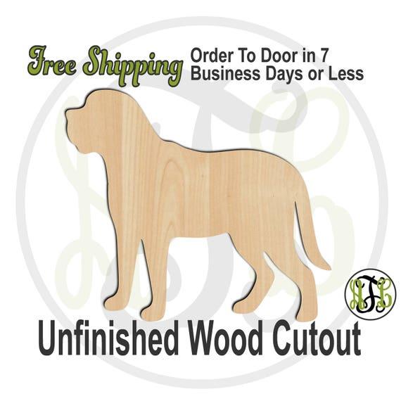 Mastiff - 230084- Animal Cutout, unfinished, wood cutout, wood craft, laser cut shape, wood cut out, Door Hanger, Dog, wooden, blank