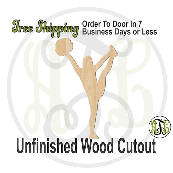 Cheerleader 3 - 60040- Sports Cutout, unfinished, wood cutout, wood craft, laser cut shape, wood cut out, Door Hanger, wooden, wall art