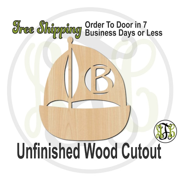 Sailboat Monogram - 50014M1- Personalized Cutout, Initial, unfinished, wood cutout, wood craft, laser cut, wood cut out, wooden