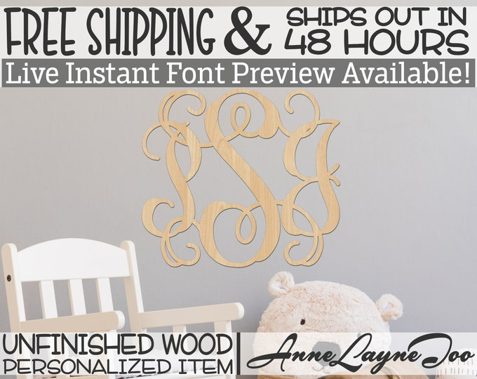 Dainty Vine 3 Letter Monogram, Custom Cutout, unfinished, wood cutout, wooden, laser cut out, wood sign, monogram, Ships in 48 HOURS