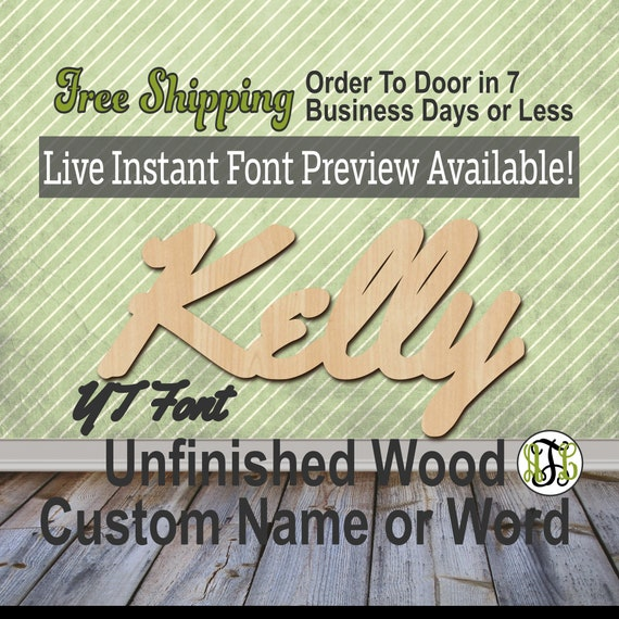 Custom Wood Name Sign, YT Font, Cursive, Connected, wood cut out, wood cutout, wooden sign, Nursery, Wedding, Birthday, word sign, Script