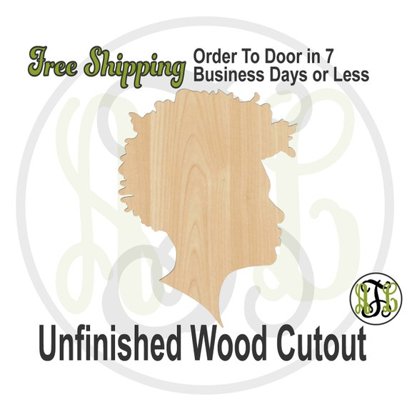 African American Man Wood Cutout, Male Profile Cutout, wood cut out, Man Door Hanger, laser cut, unfinished wood cutout - 3300018