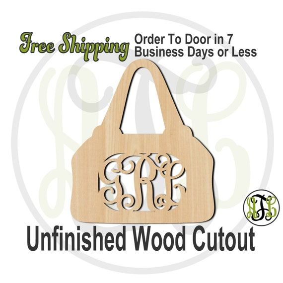 Purse - 300102M3- Personalized Cutout, 3-Letter Monogram , unfinished, wood cutout, wood craft, laser cut, wood cut out, wooden, Door Hanger