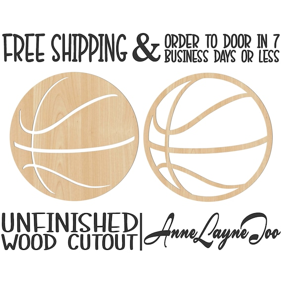 Basketball Solid or Outline Wood Cutout, Wooden basketball, Basketball Door Hanger, laser cut, unfinished wood cutout, - 60252-53