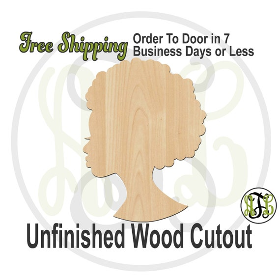 African American Female Beauty Wood Cutout, wood cut out, Woman Door Hanger, Female Profile, laser cut, unfinished wood cutout- 3300019