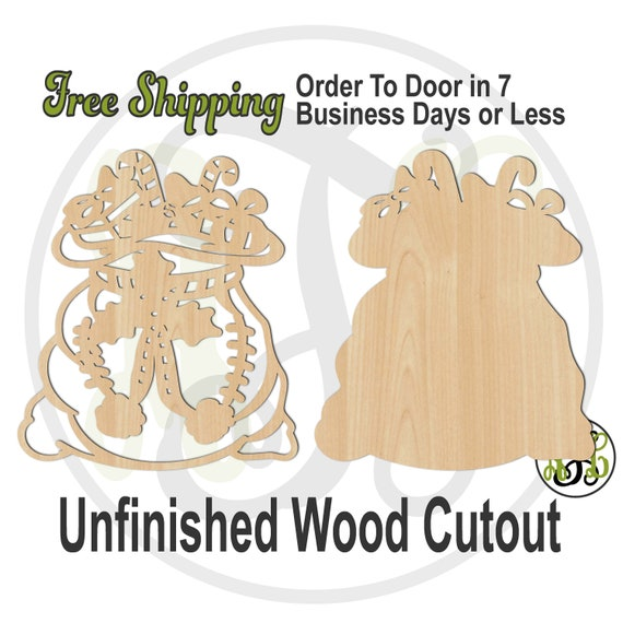 Santa's Gift Sack Outline or Solid- 180523-24- Christmas Cutout, unfinished, wood cutout, laser cut wood, wood cut out, Door Hanger