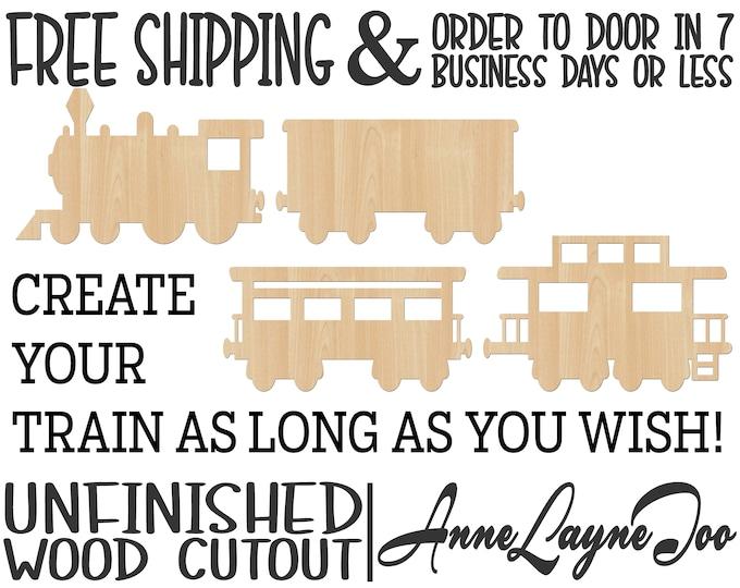 Train Cars- Train Wood Cutout, Steam Engine, Boxcar, Passenger Car, Caboose, Railroad, laser cut, wood cut out, unfinished - 300232-35