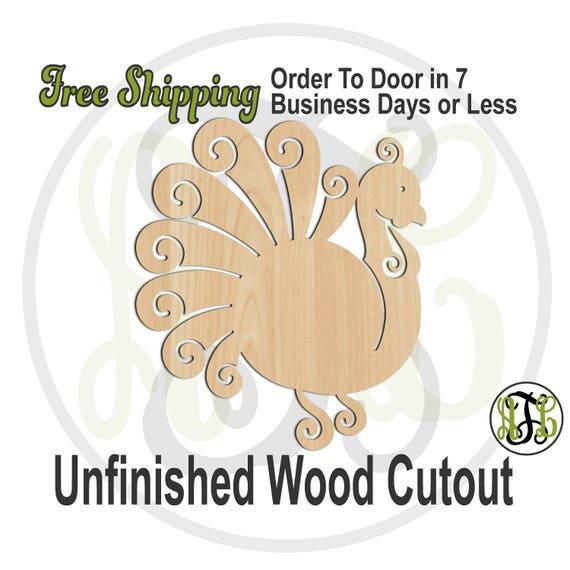 Turkey 4- 170022- Thanksgiving Cutout, unfinished, wood cutout, wood craft, laser cut shape, wood cut out, Door Hanger, Gobble, Bird, wooden