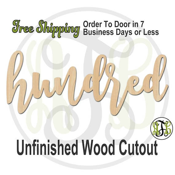 hundred - 320255FrFt- Word Cutout, unfinished, wood cutout, wood craft, laser cut wood, wood cut out, Door Hanger, wood cut out, wooden sign