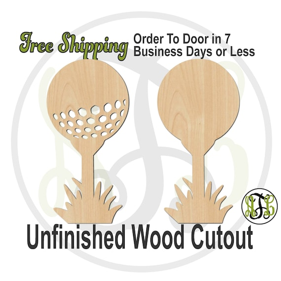 Golf Ball on Tee - 60037 and 47- Sports Cutout, unfinished, wood cutout, wood craft, laser cut shape, wood cut out, Door Hanger, wooden
