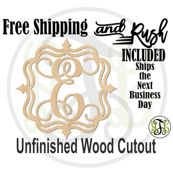 Spear Edge Initial Wood Cutout, Monogram Sign, Initial Door Hanger Sign, unfinished, wood cut out, laser cut -530001A-Z- RUSH PRODUCTION