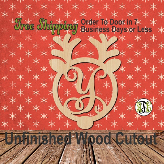 Reindeer Monogram - 189002M1- Christmas Cutout, Initial, unfinished, wood cutout, wood craft, laser cut, wood cut out, wooden, Door Hanger