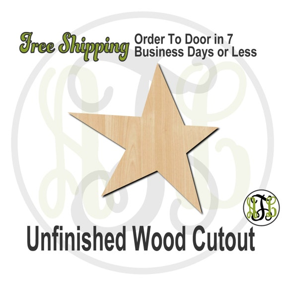 Star Wood Cutout, Start Door Hanger, wooden star cutout, wooden Christmas star, wood cut out, laser cut, unfinished wood cutout - 70008