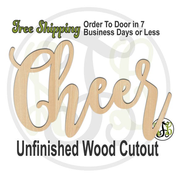 Cheer 1 - 320279FrFt- Word Cutout, unfinished, wood cutout, wood craft, laser cut, wood cut out, Free Ship, wood cut out, cheerleader