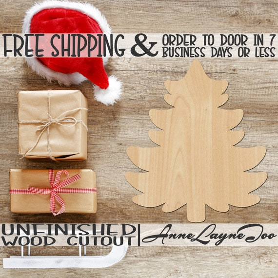 Christmas Tree Wood Cutout, Christmas Cutout, Christmas Tree Door Hanger, Holiday, wooden, unfinished, wood cut out, laser cut -180117