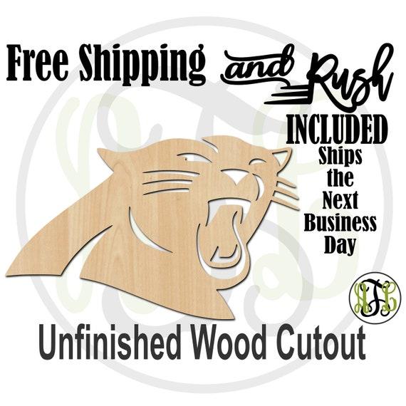 Panther Head Mascot - 60624- School Spirit Cutout, unfinished, wood cutout,  laser wood cutout, Door Hanger - RUSH PRODUCTION