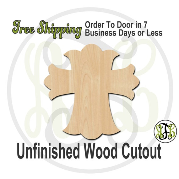 Cross 1 - 29001- Cutout, unfinished, wood cutout, wood craft, laser cut shape, wood cut out, Door Hanger, wooden, ready to paint