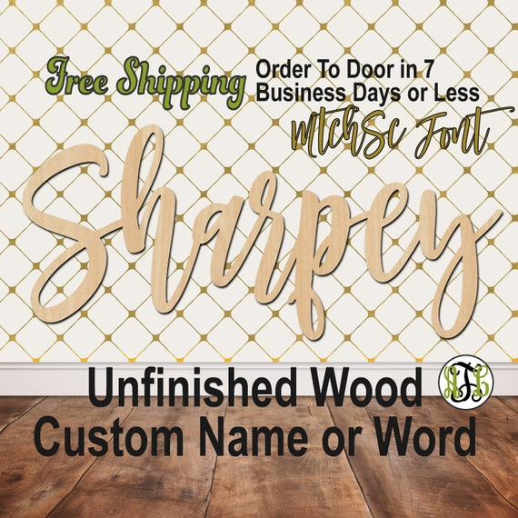 Unfinished Wood Custom Name or Word MtchSc Font, wood cut out, Script, Connected, wood cutout, wooden sign, Nursery, Wedding, Birthday