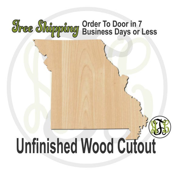 Missouri State- 270021- State Cutout, unfinished, wood cutout, wood craft, laser cut shape, wood cut out, Door Hanger, United States, wooden
