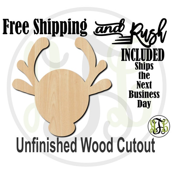 Whimsical Reindeer - No. 180015- Christmas Cutout, unfinished, wood cutout,  laser wood cutout, Door Hanger - RUSH PRODUCTION