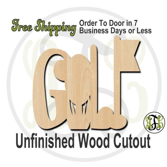 Golf - 60017- Cutout, unfinished, wood cutout, wood craft, laser cut shape, wood cut out, Door Hanger, wooden, wall art, ready to paint