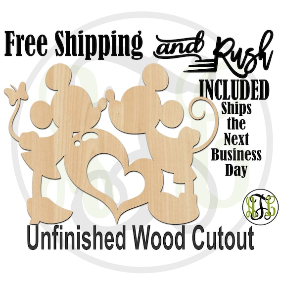 Cartoon Mouse Girl and Boy with Heart - 110046- Valentine Cutout, unfinished, wood cutout, laser cut shape, Wedding - RUSH PRODUCTION