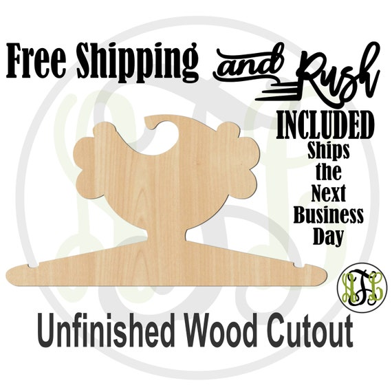 Girl Curly Closet Hanger - Adult or Child Size Cutout, unfinished, wood cutout,  laser cut, Free Shipping - RUSH PRODUCTION