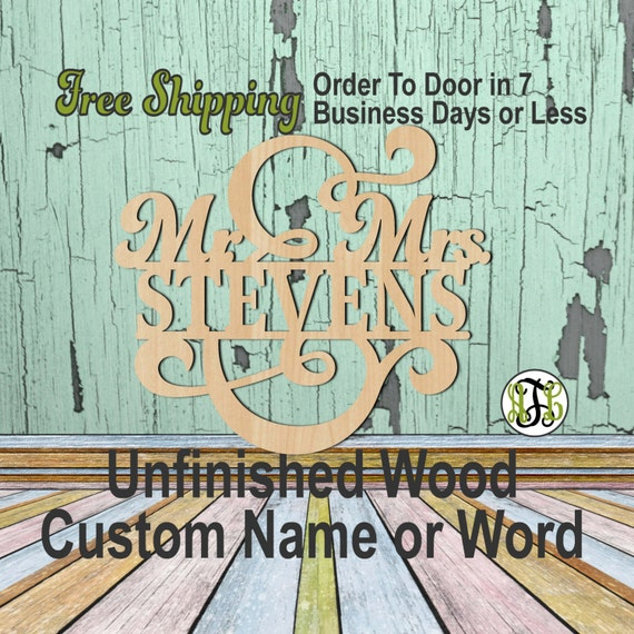 Mr. and Mrs. Name Plate 4- 320104- Personalized Cutout, unfinished, wood cutout, wood craft, laser cut wood, wood cut out, Wedding, wooden