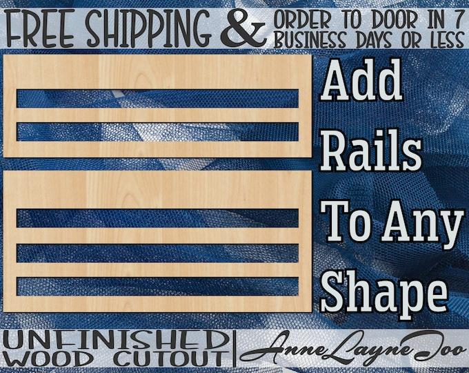 Rails Add On, Blank Door Rails, Door Hanger Rails, Wood Rails, Mesh Wreath Form, Rails for Deco Mesh, unfinished, laser cut -560001-12