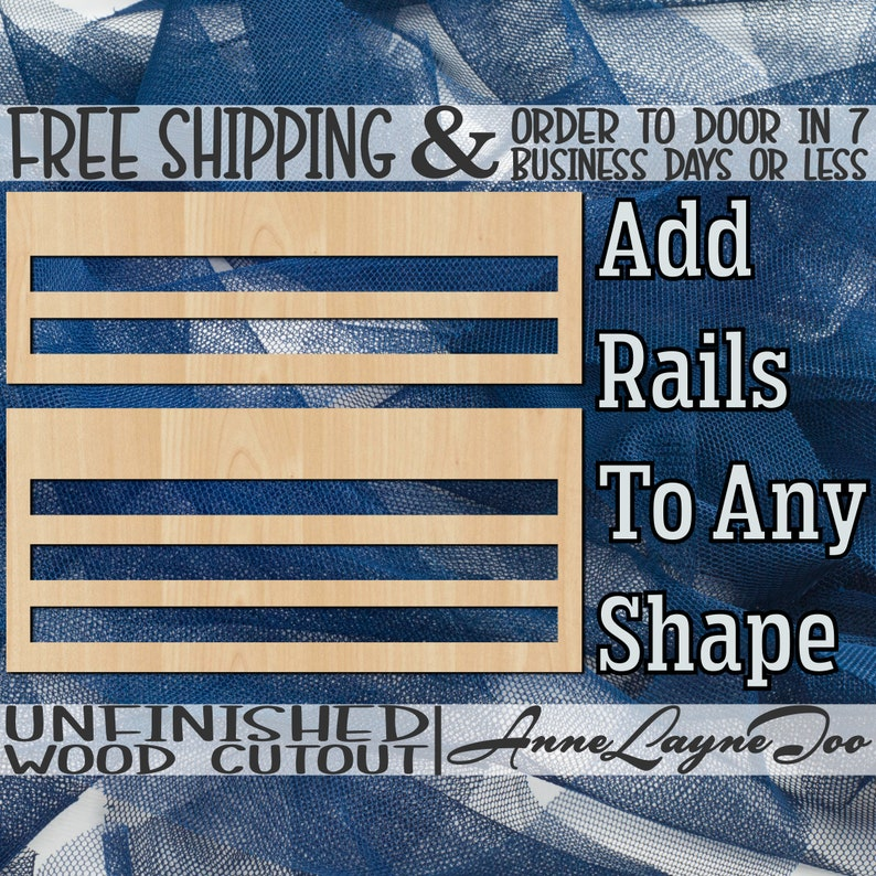 Rails Add On Blank Door Rails Door Hanger Rails Wood Rails image 0