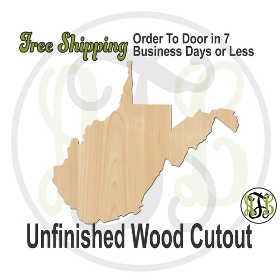 West Virginia State- 270049- State Cutout, unfinished, wood cutout, wood, laser cut shape, wood cut out, Door Hanger, United States, wooden
