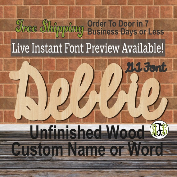 Custom Wood Name Sign, GT Font, Cursive, Connected, wood cut out, wood cutout, wooden sign, Nursery, Wedding, Birthday, word sign, Script