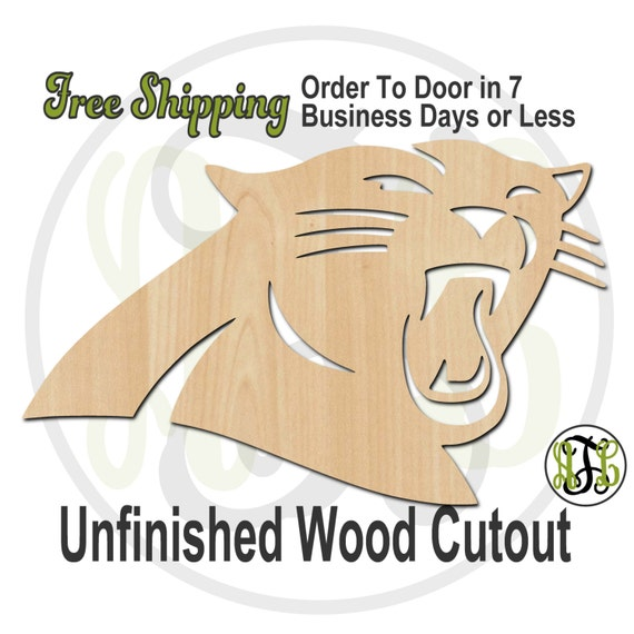 Panther Head Mascot - 60624- School Spirit Cutout, unfinished, wood cutout, wood craft, laser cut shape, wood cut out, Door Hanger, wooden
