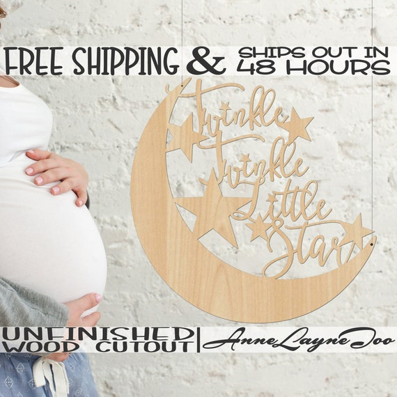 Twinkle Twinkle Little Star Wood Cutout, Nursery Cutout, Baby Shower sign, unfinished, wood cut out, laser cut, Ships in 48 HOURS -325016