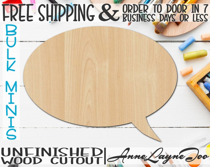 """Thought Bubble 1- 2"""" to 6"""" Minis, Small Wood Cutout, unfinished, wood cutout, wood craft, laser cut, wood cut out, ornament -40023"""