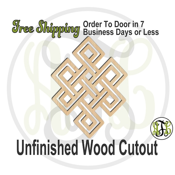 Endless Knot - 290031- Cutout, unfinished, wood cutout, wood craft, laser cut shape, wood cut out, Door Hanger, wooden, wall art
