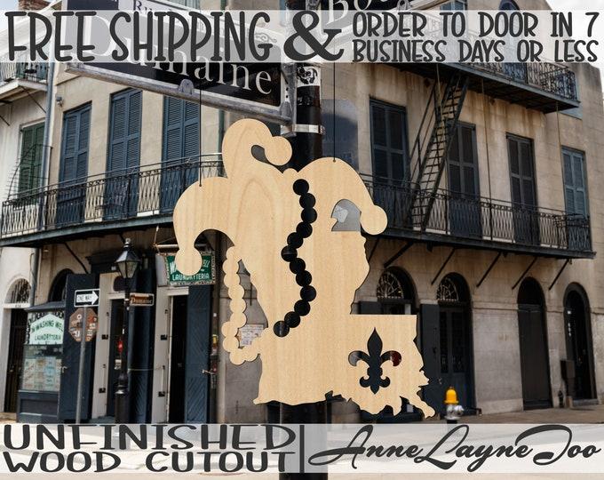 Louisiana Mardi Gras Wood Cutout, Mardi Gras Door Hanger, New Orleans Mardi Gras, Carnival Sign, unfinished, wood cut out, laser cut -130016