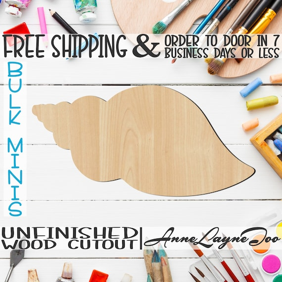 """Shell 3- 2"""" to 6"""" Minis, Small Wood Cutout, unfinished, wood cutout, wood craft, laser cut shape, wood cut out, ornament -50016"""