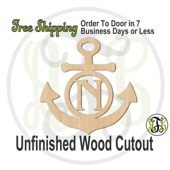 Anchor 1 - 50009M1- Nautical Personalized Cutout, Initial, unfinished, wood cutout, wood craft, laser cut, wood cut out, wooden
