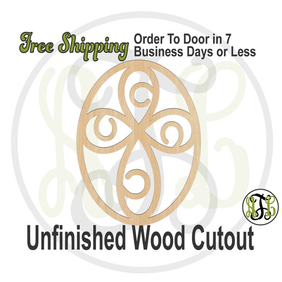 Swirl Cross in Oval Frame- 290050 - Religious Cutout, unfinished, wood cutout, wood craft, laser cut shape, wood cut out, Door Hanger