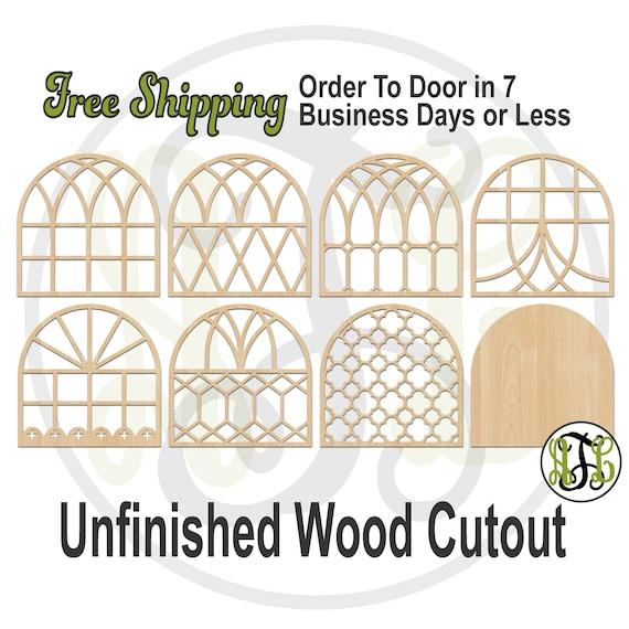 Farmhouse Window Designs, Farmhouse window decor, window cutouts, window cut out, Farmhouse wall decor, laser cut, unfinished - 4500008-15