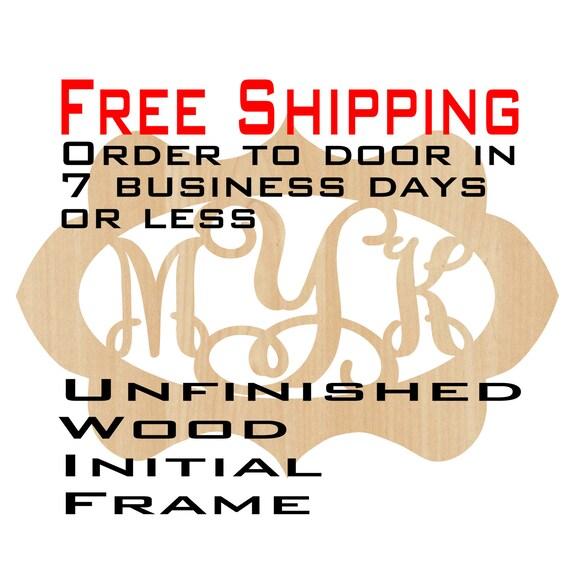 Unfinished Wood Megan Frame Monogram, Name, Word, Custom, laser cut wood, wooden cut out, Wedding, Personalized, DIY