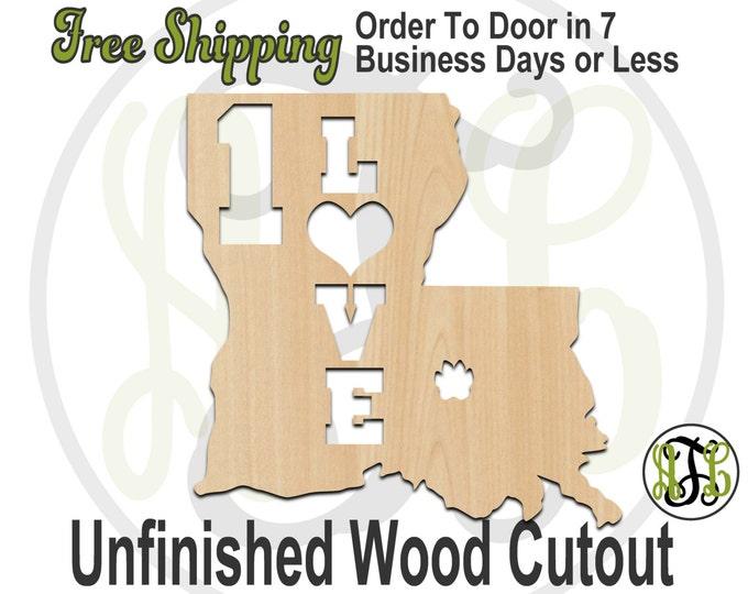 Louisiana 1 Love- 60128- Cutout, unfinished, wood cutout, wood craft, laser cut shape, wood cut out, Door Hanger, wooden, wall art